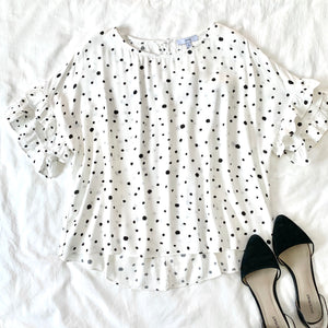 RISING STARS - POKA DOT RUFFLE SLEEVE TOP