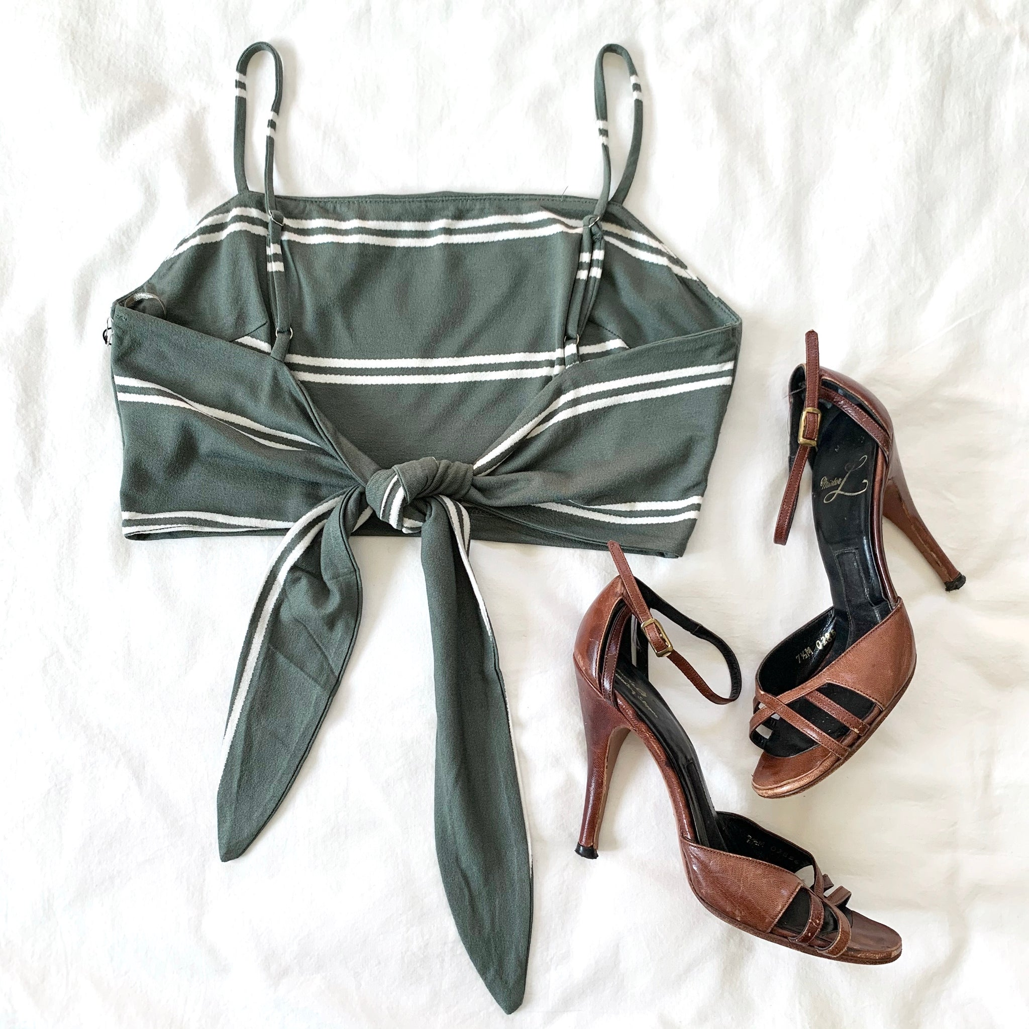 LOVE STORY - OLIVE STRIPED TIE BACK CROP TOP