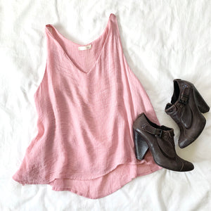 CAN'T STOP WON'T STOP - PINK LACE TRIM BACK TANK
