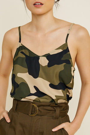 OUT TO EXPLORE - SPAGHETTI STRAP CAMO TANK