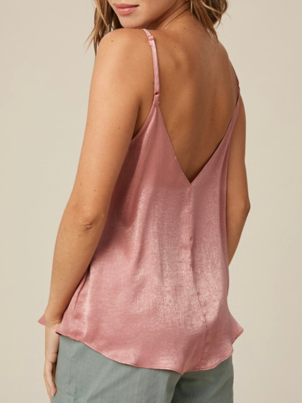 WITH MY WHOLE HEART - PINK VNECK LACE TRIM CAMI