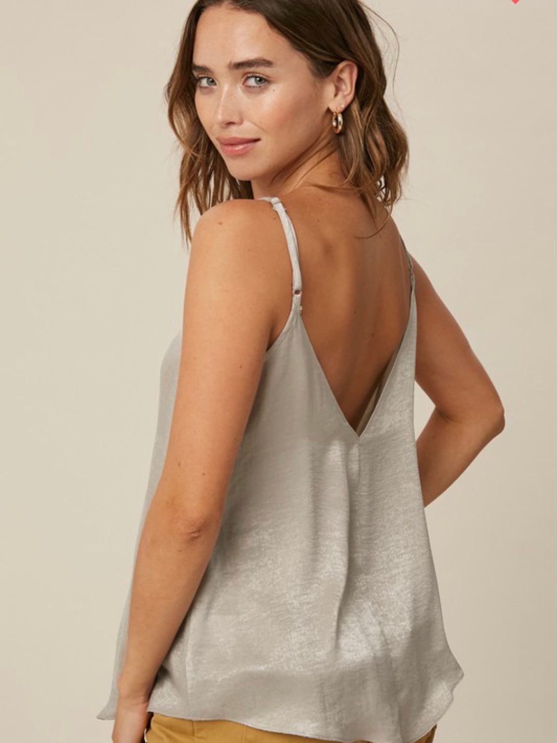 WITH MY WHOLE HEART - SILVER VNECK LACE TRIM CAMI