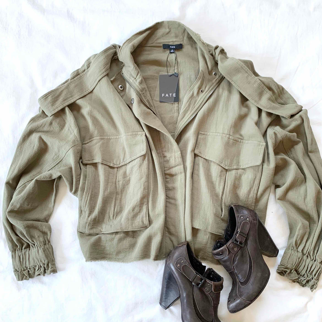 HALL OF FAME - OLIVE LOOSE FIT JACKET