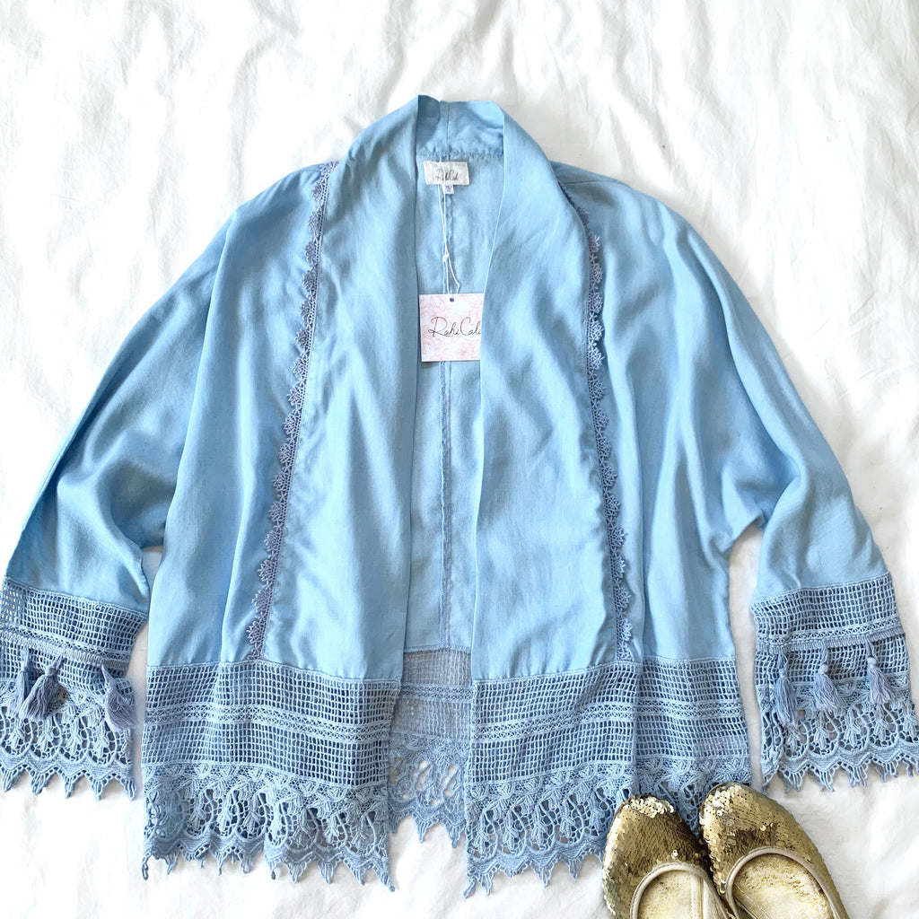 OCEAN FRONT - LIGHT BLUE LACE TASSLE JACKET