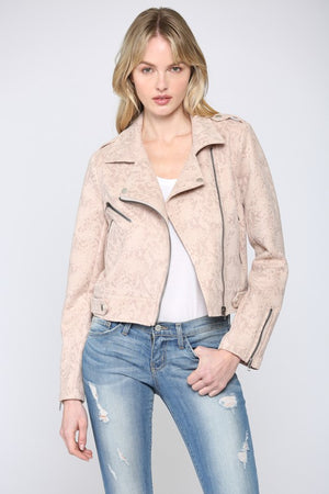 CAME HERE FOR LOVE - PINK AND CREAM SNAKE MOTO JACKET