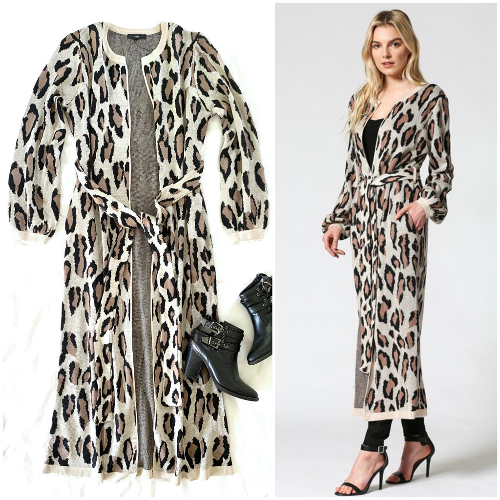 KEEP YOU NEAR - LONG LEOPARD CARDIGAN