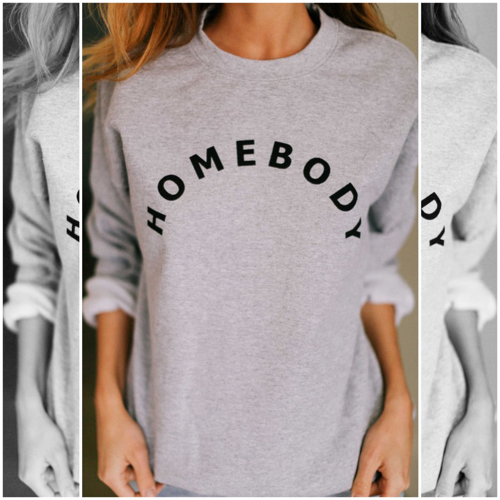 STAYING IN - GRAY AND BLACK HOMEBODY GRAPHIC SWEATSHIRT