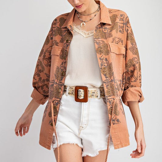 EASY LOVING YOU - VINTAGE INSPIRED TERRACOTTA TWILL JACKET