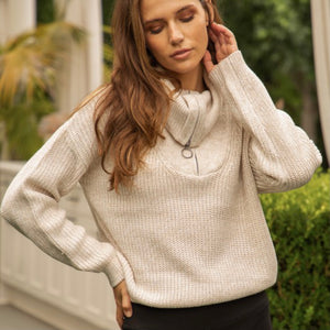CLOSE TO YOU - CREAM MOCK NECK ZIP SWEATER