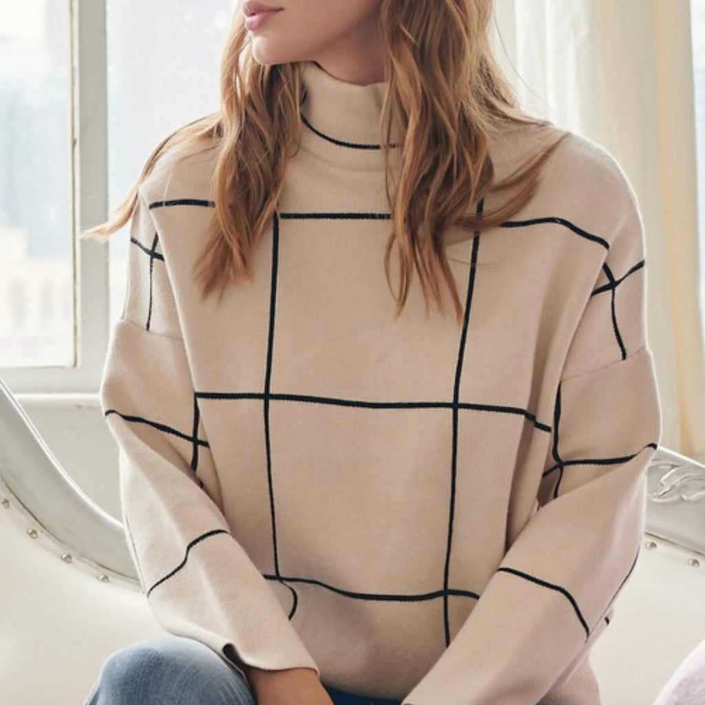 FORGIVE AND FORGET - CREAM AND BLACK GRID SWEATER