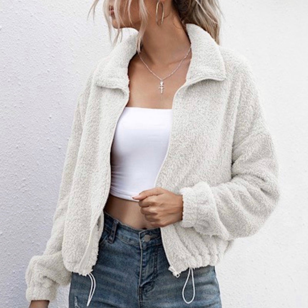 THE HERO - WHITE ZIPPED SHERPA JACKET