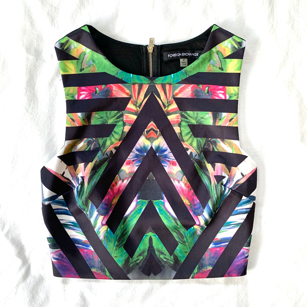 JUNGLE MULTI COLOR CROP W ELASTIC BACK (RESALE)