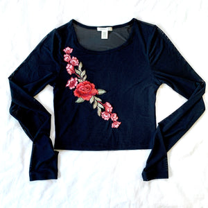 MESH ROSE LONG SLEEVE TOP (RESALE)