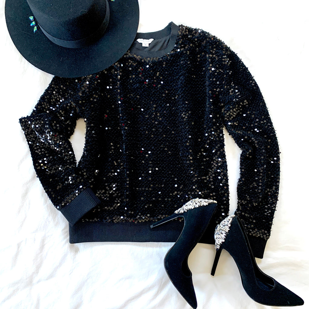 HABITUAL BLACK SEQUIN & VELVET L/S TOP (RESALE)