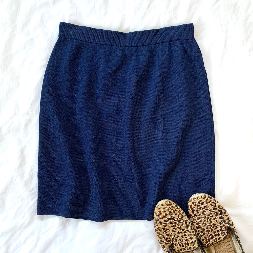 VINTAGE ST. JOHN NAVY ABOVE-KNEE PENCIL SKIRT (RESALE)