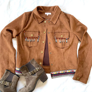 BROWN COWBOY & INDIAN FAUX SUEDE JACKET (RESALE)