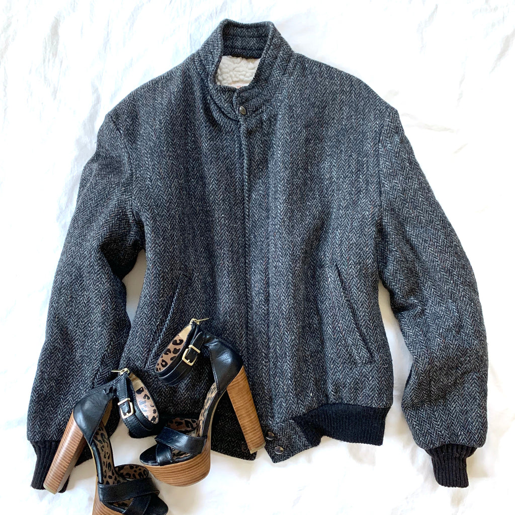 DARK GRAY HERRINGBONE ELASTIC WAIST & CUFFS JACKET (RESALE)
