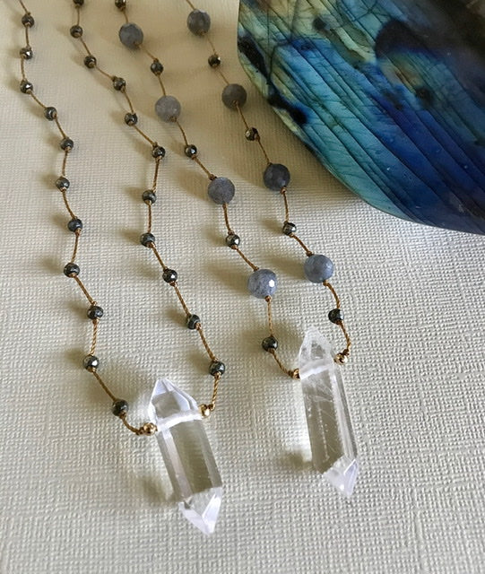 Crystal & Pyrite Necklace