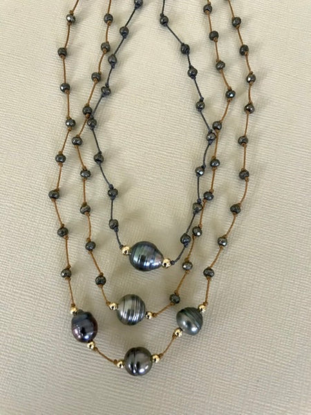 Triple Tahitian Pearl & Pyrite Necklace