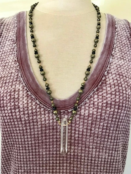 Protection Pyrite Crystal Necklace
