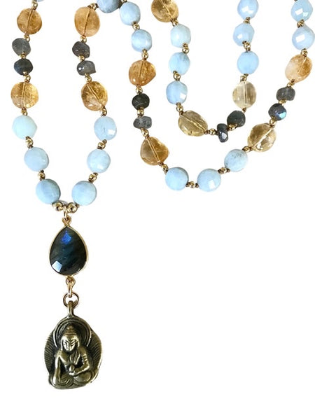 Buddha Aquamarine Citrine Necklace