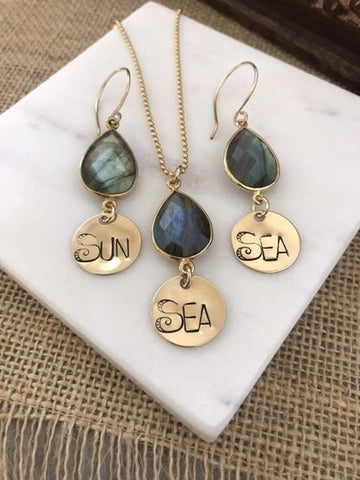 Gold Sun & Sea Necklace and Earrings Set