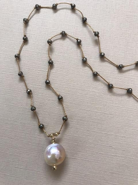 Edison Pearl & Pyrite Necklace