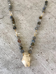 Citrine Nugget & Labradorite Necklace