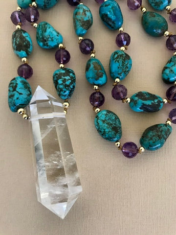 Turquoise and Amethyst Crystal Necklace