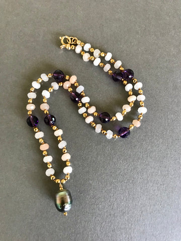 Tahitian Pearl and Amethyst Cosmos Necklace