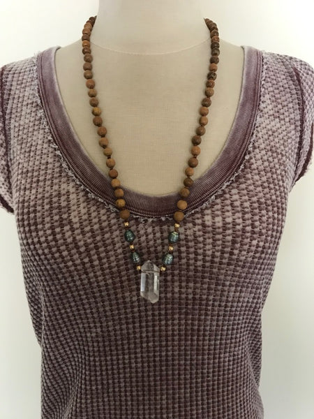 Crystal Rosewood Tahitian Pearl Necklace