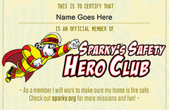Fire Safety Hero Club Certificate