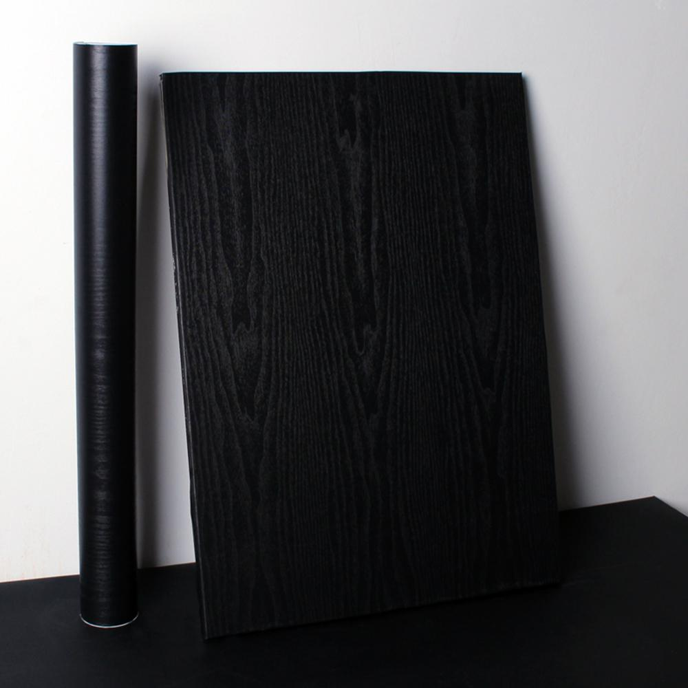 Black Wood Grain Wallpaper PVC