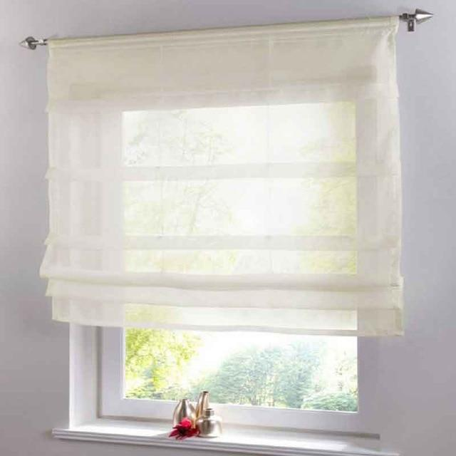 Short Voile Kitchen Curtains Solid