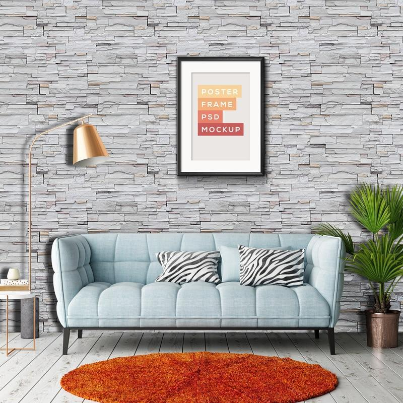 Vintage Imitation Gray Brick Wallpaper