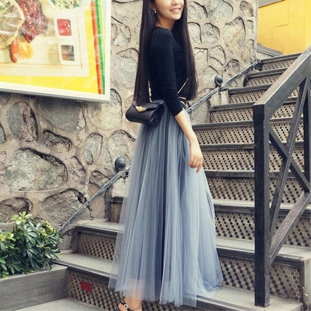 Skirt Middle Length Gauze