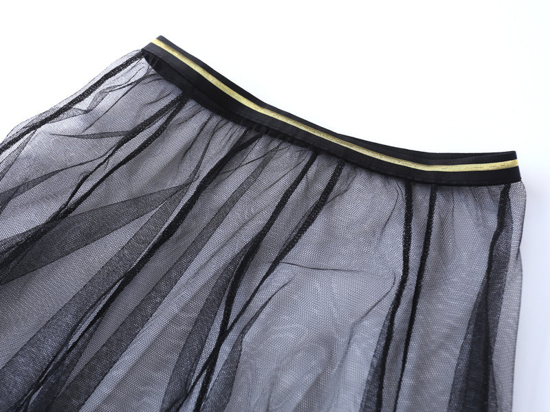 Gauze Black Midi Skirt