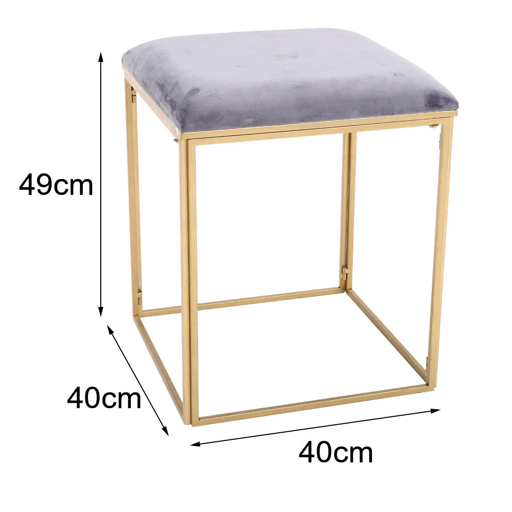 Velvet Vanity Stool Chair Minimalist Makeup Dressing Table Stool Padded Leisure Chair