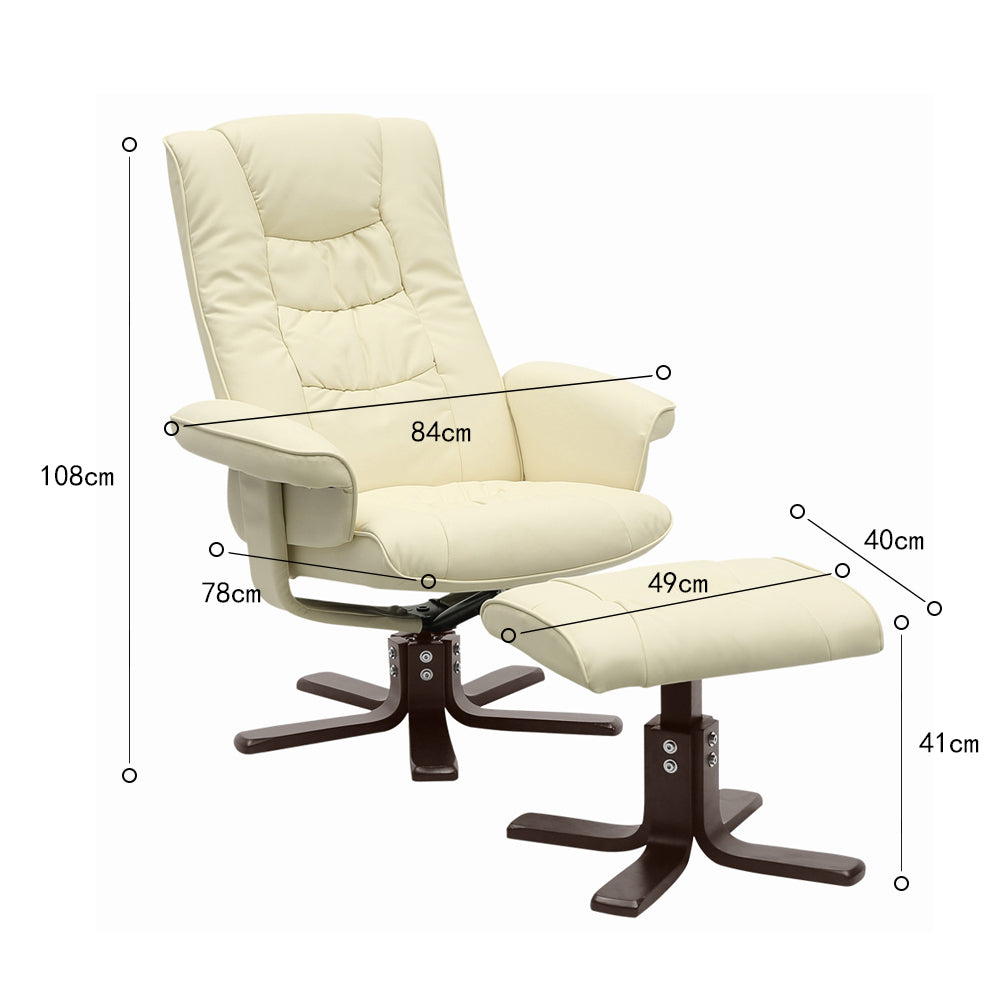 Ergonomic High-Back Executive Chair Office Chair PU Leather with Ottoman Footstool