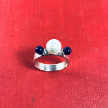 Load image into Gallery viewer, Tri Pearl and Sodalite Ring
