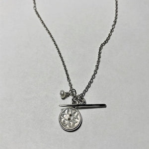 Flower Button and Needle Charm Necklace
