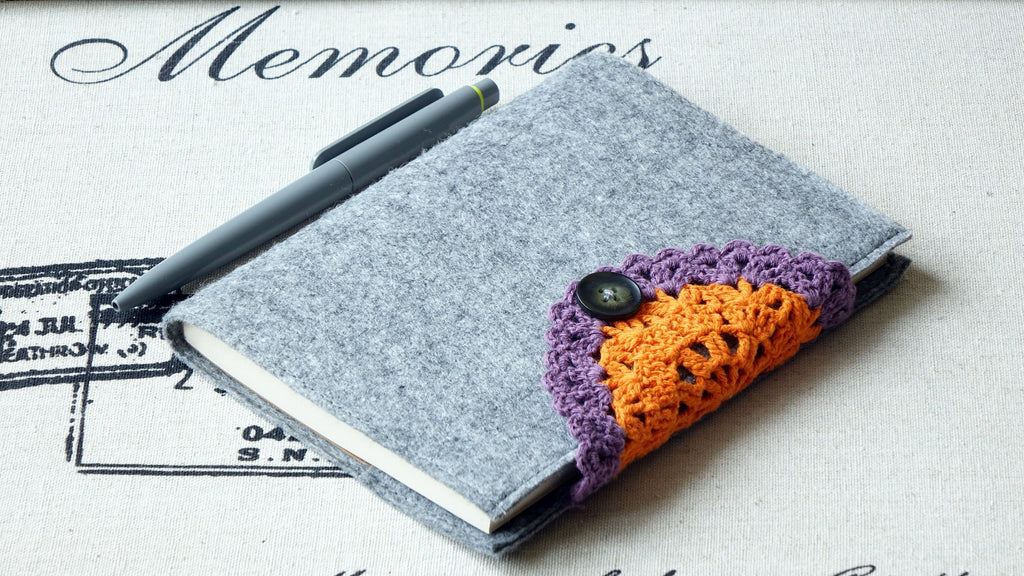 Notebook with Felt Cover and Crochet Detail