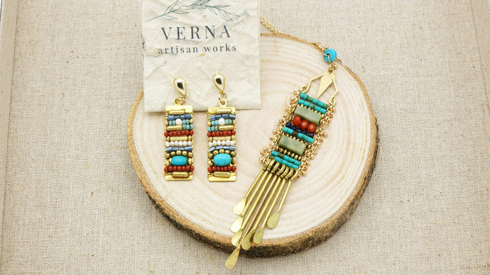 Turquoise Wired Necklace and Earrings Set - Verna Artisan Works