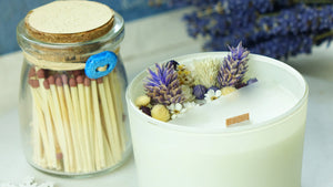 Aromatherapy Soy Candle with a with a Jar of Matches - Lavender - Verna Artisan Works