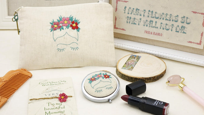 Makeup Bag Vanity Set - Frida Kahlo - Verna Artisan Works