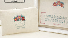 Load image into Gallery viewer, Hand Embroidered Clutch Gift Set - I-Pad / Tablet Case - Frida Kahlo - Verna Artisan Works