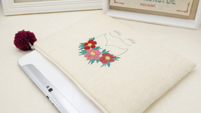 Hand Embroidered Clutch Gift Set - I-Pad / Tablet Case - Frida Kahlo - Verna Artisan Works