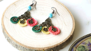 Floral Mini Crocheted Colorful Earrings - Verna Artisan Works