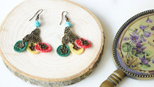 Load image into Gallery viewer, Floral Mini Crocheted Colorful Earrings - Verna Artisan Works