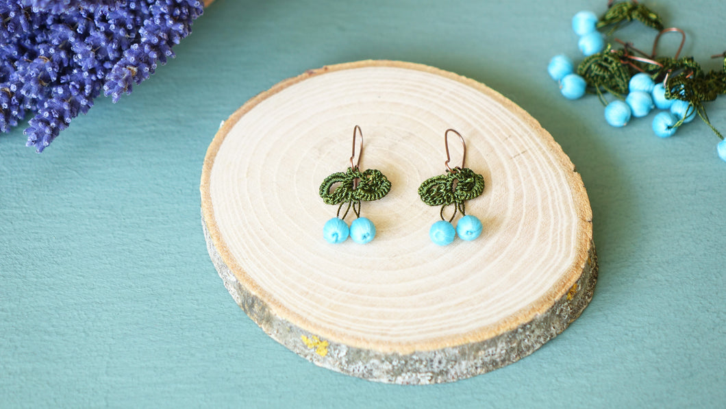Needle Lace Earring - Turquoise Color - Verna Artisan Works